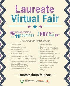 Visit our Laureate #VirtualFair to discover and apply for #international student programs available in the Laureate Network.   Please go to http://LaureateVirtualFair.com  #Laureate