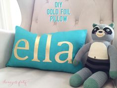 Written by Dina of Honey & Fitz Whenever I design a kid's bedroom, I try to include a personalized element. Kid's love things with their names on them right? This super easy DIY gold foil pillo...