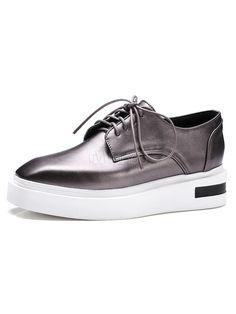Women's Oxford Shoes Metallic Square Toe Lace Up Color Block Casual  Platform Shoes