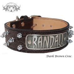"""N14 - Custom Name Plate 1 1/2"""" Wide Spiked Leather Dog Collar from Pit Bull Gear"""