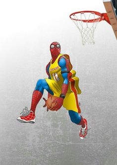 this painting of spiderman has good detail, spiderman is a monster at bball! Dragonball Anime, Marshmello Wallpapers, Superhero Spiderman, Dragon Ball, Nba Pictures, Dope Cartoons, Nba Wallpapers, Sneaker Art, Basketball Art