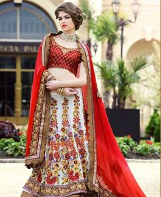 White Georgette Fabric A Line Lehenga Choli In Traditional Look ,Indian Dresses - 1