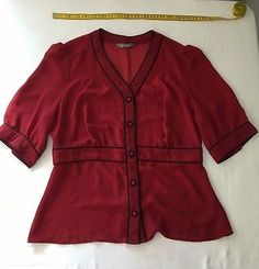 Jacqui E Size 12 Red Sheer Chiffon Fitted Button up 3/4 Sleeves Shirt
