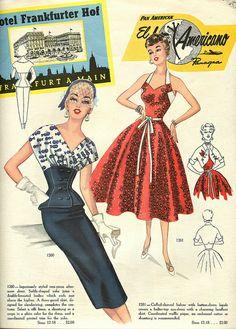 Modes Royale 1954 love the red dress Vintage Dress Patterns, Clothing Patterns, Vintage Dresses, Vintage Outfits, Vintage Clothing, 1950s Dresses, Retro Mode, Mode Vintage, Fashion Sketches