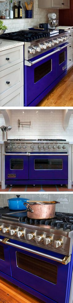 I Love This Cobalt Blue Viking Stove  ... A Great Way To Add A PoP Of Color In Your Kitchen ❤︎  #home #appliances #inspiration