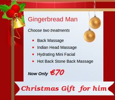 Treat your special man with the gift of amazing skin & total relaxation this #Christmas. Let him experience the best quality of spa treatments and luxurious surrounding at LaNu Medi Spa Drogheda. Our special package offers the choice to choose any two treatments of your choice from relaxing Back Massage, Indian Head Massage, Hydrating Mini Facial or Hot Stone Back Massage for €70 only. Vein Removal, Spa Specials, Christmas Offers, Mini Facial, Christmas Gifts For Him, Indian Head, Spa Party, Spa Treatments