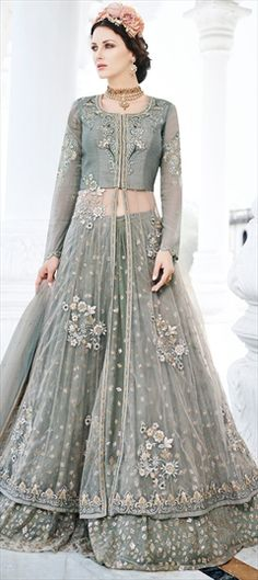 753715 Black and Grey color family Long Lehenga Choli in Art Silk, Net fabric with Lace, Machine Embroidery, Resham, Stone, Thread, Zari work .