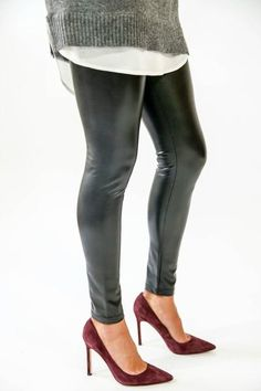 We'll be turning heads in these faux leather leggings with a shoulder baring sweater for fall. RD Style Faux Leather Leggings