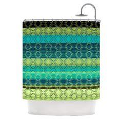 "Kess InHouse Nina May ""Denin Diamond Gradient Green"" Turquoise Emerald Shower Curtain"