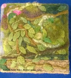 """Piece by Barbara Smith (part of a larger group piece), member of Embroiderers' Guild Richmond & Leyburn branch. Part of the """"Landscapes and Gardens"""" exhibition at The Garden Rooms at Tennants  7-26 June 2016. Exhibition held as part of the UK's Capability Brown Festival"""