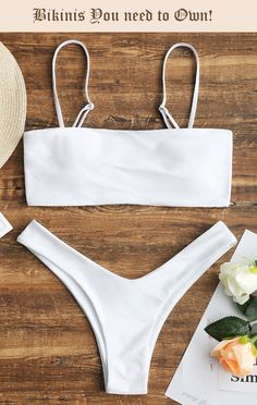 [HOT] 2019 High Cut Cami Bikini Set In WHITE Simple yet chic paired two piece bikini swimwear in a solid color hue and a straight cut shape with adjusted cami straps, removable padded cup design. Cute Swimsuits, Cute Bikinis, Women Swimsuits, White Bikini Set, White Swimsuit, White Bikini Bottoms, Black And White Bikini, Swimwear Fashion, Bikini Swimwear