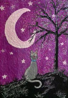 Cat, Moon & Stars