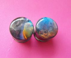 Galaxy picture plugs gauges embedded resin by NerdalieCreates, $15.00