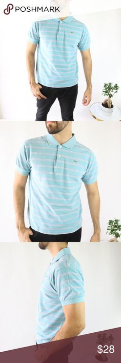b883c8edfcb64 Lacoste Men's Polo Blue Striped Shirt - Size 6 L Lacoste Men's Polo Blue  Striped Shirt