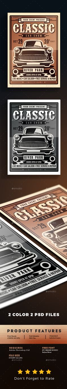 Car Show Flyer Template  Flyer Template Cheer And Fonts