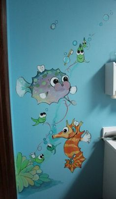 underwater scene for nursery @ church? Ocean Nursery, Nursery Room, Girl Nursery, Mural Painting, Fabric Painting, Ocean Mural, Underwater Theme, Church Nursery, Bathroom Kids