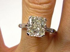 Large 3.24ct Estate Vintage Radiant Cut Diamond  with 2 Baguettes in Platinum Engagement Wedding Anniversary Ring on Etsy, $15,595.00