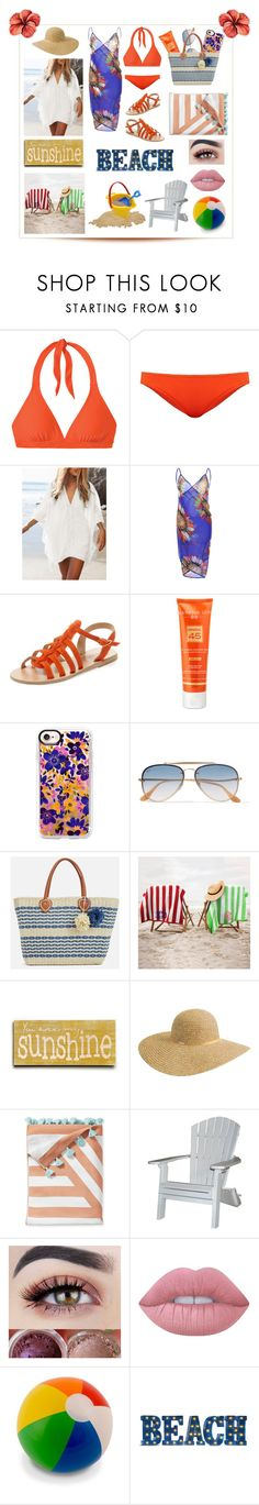 """Beach day☀️🏖"" by believer94 ❤ liked on Polyvore featuring prAna, Diane Von Furstenberg, Ancient Greek Sandals, Hampton Sun, Casetify, Ray-Ban, JustFab, ArteHouse, Betmar and Serena & Lily"