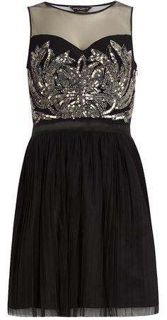 Black embellished prom dress