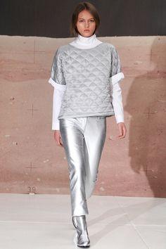 Sleek and silver quilting at Organic by John Patrick #nyfw #quilting