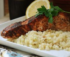 Salmon with Sweet Spicy Rub and Cauliflower Rice #MultiplyDelicious