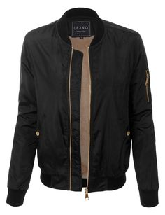 Keep up with the latest trend in this classic faux fur lining bomber jacket with pockets. Stark black trim pops against the smooth construction of a trend-right bomber jacket that looks great layered