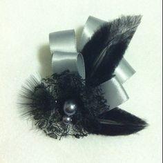 Gray ribbon, lace, pearls, feathers Flowersbyanastasia@gmail.com