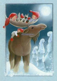 "Baby in the ""Bed"" of the Moose's Antlers, and one on the back. Illustration by Kaarina Toivanen Christmas Art, Christmas And New Year, Vintage Christmas, Christmas Illustration, Cute Illustration, Creation Photo, Reindeer Antlers, Scandinavian Gnomes, Illustrations"
