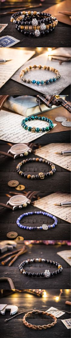 Gemstone beaded bracelets Essentials for the casual mens look