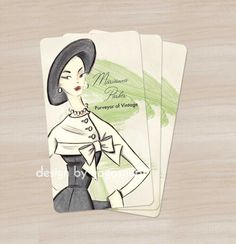 250 Vintage Inspired 1950's Personalized Calling Cards - Business Cards - etsy store cards. $76.00, via Etsy.