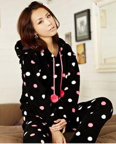 Dots Black Fleece Hoody Pajamas Set for Women