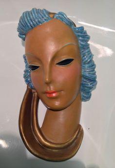 1930s Art Deco Goldscheider, Wien Terracotta Lady Wall Mask by Adolf Prischl