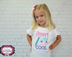 Girl School Shirt, Preschool Shirt, Smart is the New Cool, First Day of School, Last Day of School, School Shirt, Teacher Shirt Preschool Shirts, Kindergarten Shirts, Last Day Of School, School School, Birthday Boy Shirts, Teacher Shirts, Branded T Shirts, Shirts For Girls, Girly