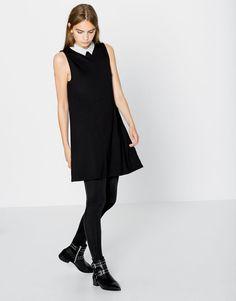 Pull&Bear - damen - neu - kreppkleid mit hemdkragen - schwarz - 09394343-I2016