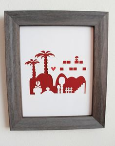 A Cutout Mario Bros city.  Personalized Gift or Wedding Gift. $26.00, via Etsy.