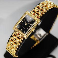 Longines Flagship Womens Quartz Black Dial 18K Gold Plated Vintage Swiss Watch