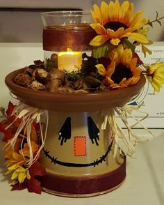 Fancy DIY Fall Craft Ideas to Bring Autumn to Your Home - Fancy DIY Fall Craft Ideas to Bring Autumn to Your Home - - Scarecrow Mason Jar Fall Decor Fall Centerpiece Scarecrow Clay Pot Projects, Clay Pot Crafts, Fall Projects, Diy And Crafts, Diy Projects, Decor Crafts, Felt Crafts, Fall Wood Crafts, Easy Fall Crafts