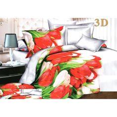 Tulipánové posteľné obliečky bielej farby