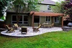 Love this! Beautiful fire pit and pergola