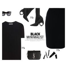 """Minimalist Black"" by hollowpoint-smile ❤ liked on Polyvore featuring Acne Studios, D.Exterior, Burberry, H&M, Christian Dior, Kat Von D, Gucci, Yves Saint Laurent, modern and contemporary"