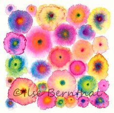 Rose grande toile impression abstraite - cercles - fleurs - colorés - fleurit Rose 2 - Edition Ltd