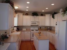 White cabinets with white appliances