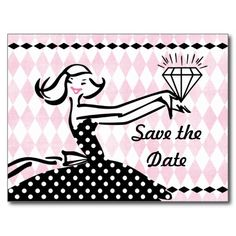 Retro Engaged II Save The Date Postcard
