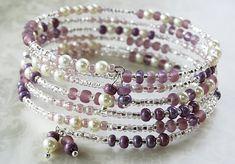 Purple Memory Wire Bracelet Beaded Bracelet by AdornmentsByEloise