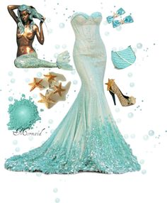 """Mermaid"" by zoe-nicole ❤ liked on Polyvore Beautiful!!! And I have this mermaid statue by my pool!!!"