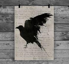 The raven Poem Nevermore poster Gothic art print Edgar Allan Poe Black bird print.