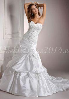 Ball Gown Sweetheart Chapel Train Classic Taffeta Long Wedding Dress