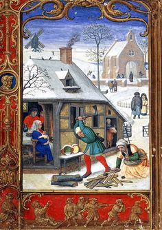 Chopping wood in January, Add. 24098 f.18v, 1520-1530, British Library