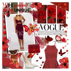 """""""Burgundy Spaghetti Strap Cut Dress"""" by tinaisapenguin ❤ liked on Polyvore featuring Chi Chi and Valentino"""