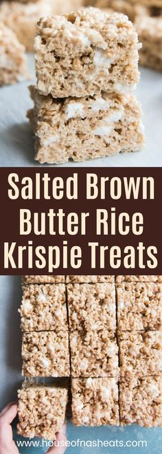 Not your average lunchbox rice krispie treats, these Salted Brown Butter Rice Krispie Treats have that salty-sweet, nutty brown butter flavor, with pockets of gooey marshmallow that make them extra amazing. #easy #best #salted #brownbutter #ricekrispies #ricekrispietreats #gourmet #gooey